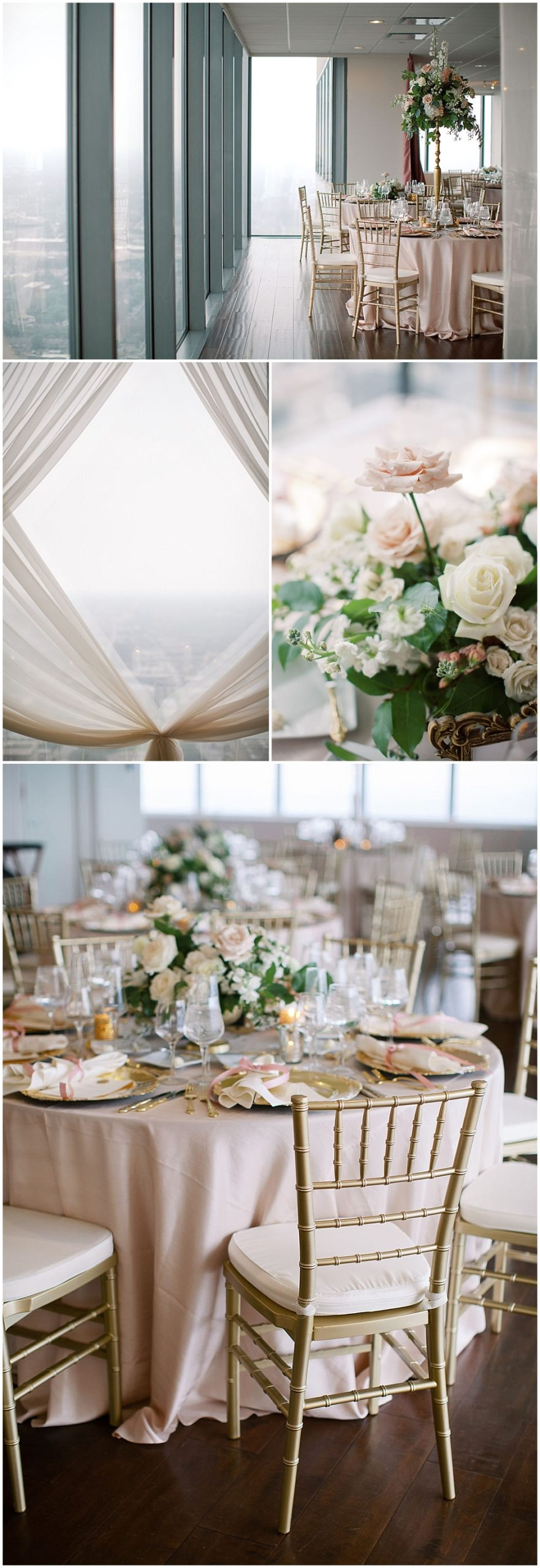 Dreamy wedding reception overlooking the downtown Indianapolis skyline. Full of floor to ceiling draping, mauve and gold accents, custom wax seal place cards, personalized place settings and a chandelier suspended above the cake table. No detail was left behind for this summer wedding at D'Amore.