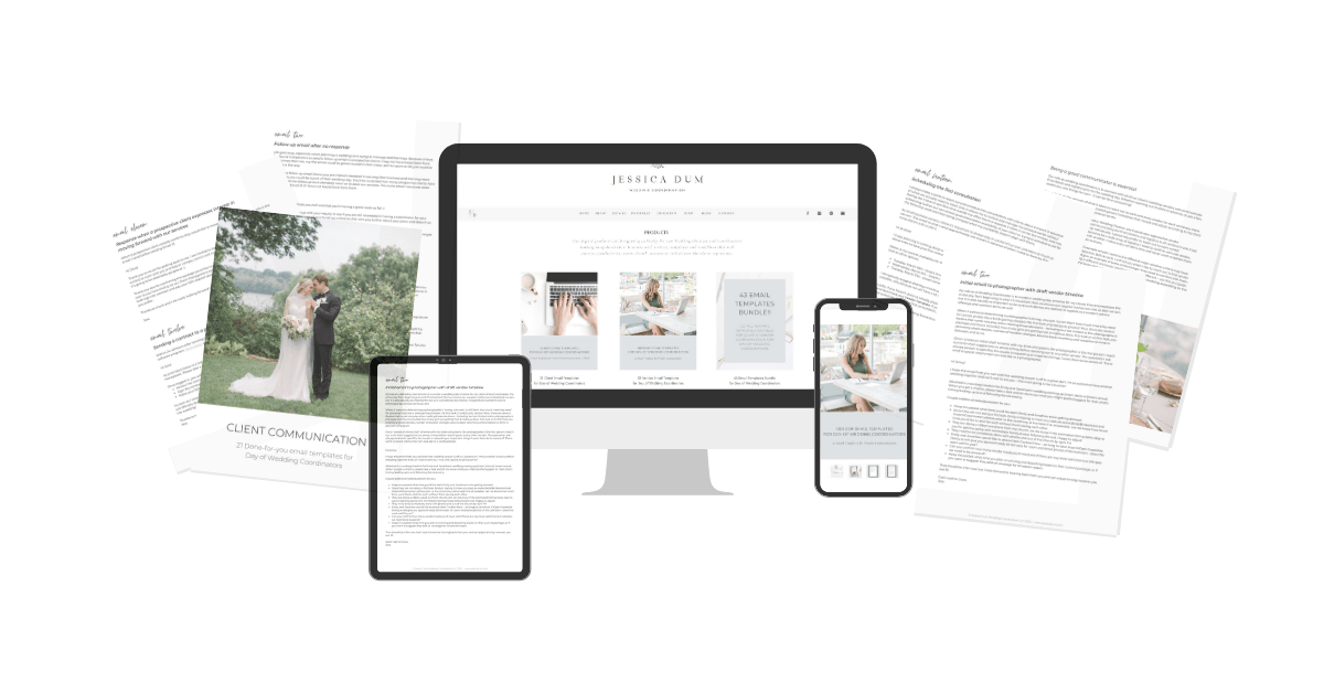 Drowning in your inbox? Snag the exact email templates I use for communicating with clients and wedding vendors in my very own wedding planning business!