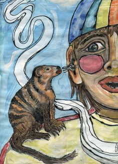 """mongoose spoke"" mixed media page from ""I called it Hippopotamus"" illustration series, 2007, Jessica Gabriel."
