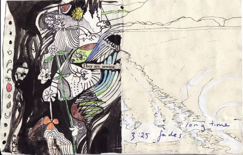 """""""they are sewing..."""" collage, pen, pencil on paper. detail from """"open confusion"""" zine, 2008.Jessica Gabriel."""
