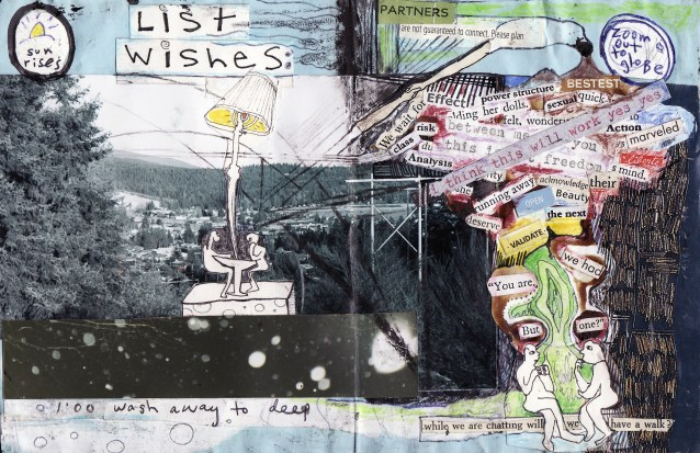 """""""list wishes"""" collage, pen, pencil on paper. detail from """"open confusion"""" zine, 2008.Jessica Gabriel."""