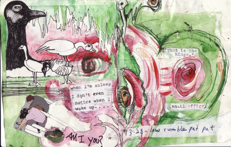 """""""am i you?"""" collage, pen, pencil on paper. detail from """"open confusion"""" zine, 2008.Jessica Gabriel."""