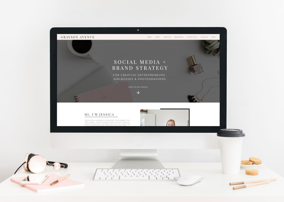 mockup image of grayson avenue showit template
