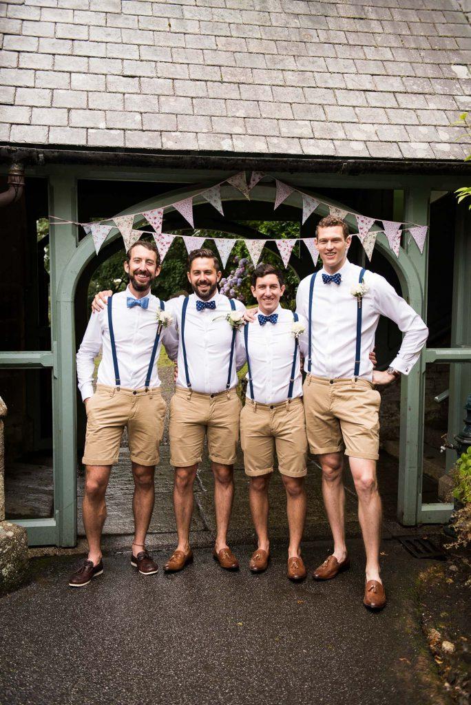 Groom with groomsmen pre wedding photography Cornwall