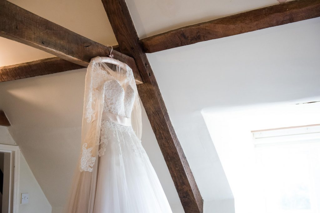 Hanging Jay West Bridal dress Norfolk Barn Wedding
