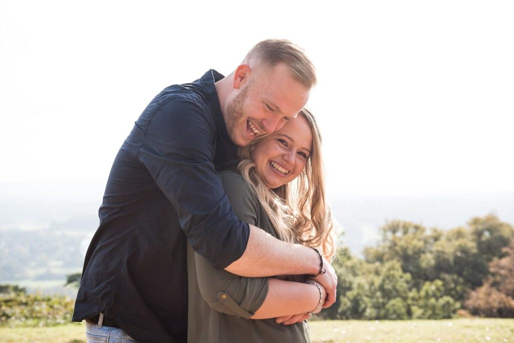 Happy engagement portrait photography Surrey