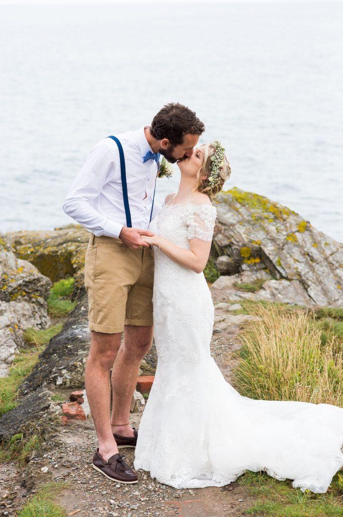 Organic beach wedding portrait Cornwall bride wearing dress by Wedding Dress Retail Outlet