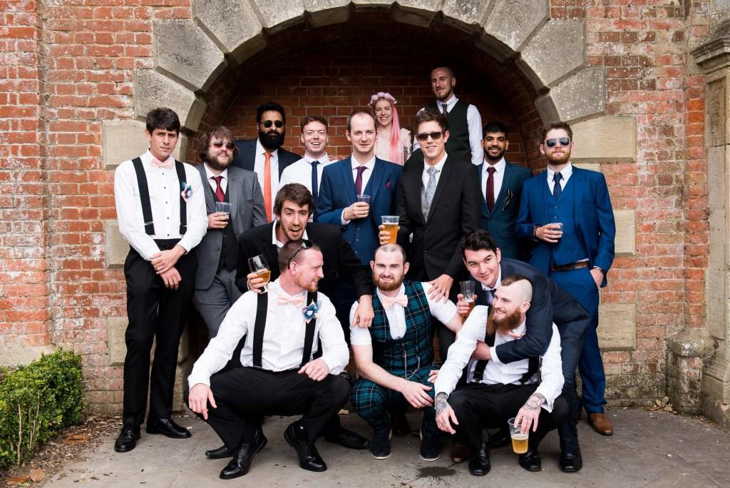 Groom with groomsmen group wedding portrait Berkshire