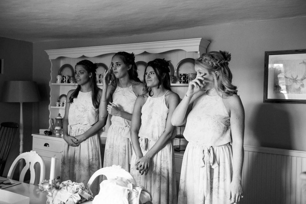Bridesmaids first look at bride pre wedding photography Norfolk