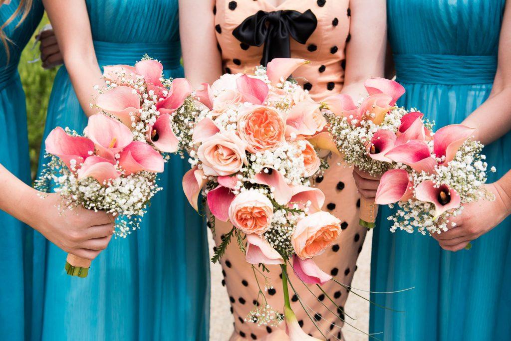 Lucy Talbot pink floral bouquets Berkshire wedding