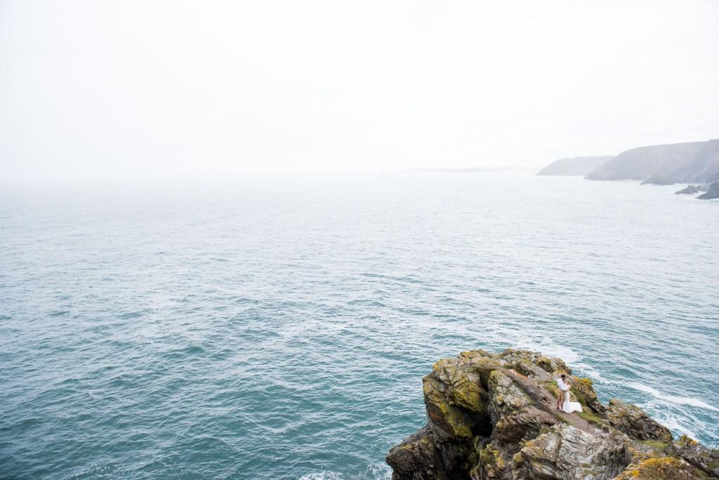 Cliff edge wedding portrait Cornwall