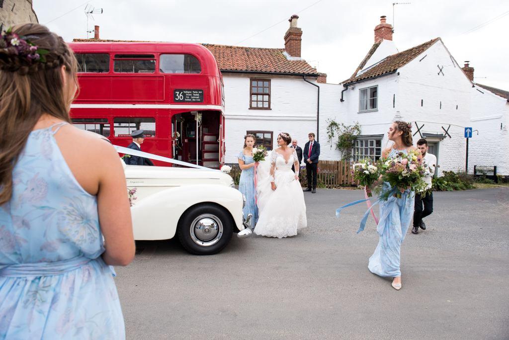 Natural wedding photography with vintage transport Norfolk