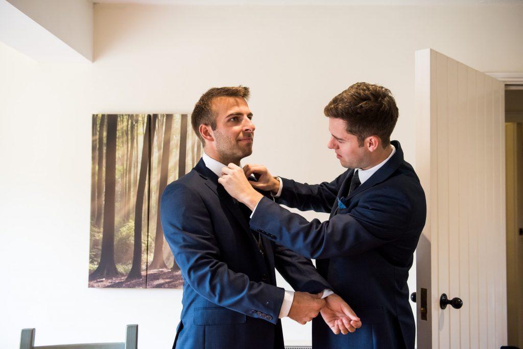 Calvin Klein Groom with groomsmen pre wedding prep Norfolk