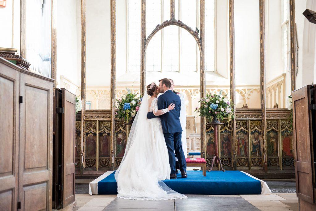 Elegant church wedding portrait Norfolk