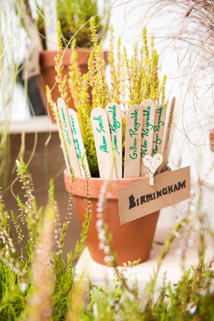 Birmingham labelled flower pot rustic wedding table decor Cornwall