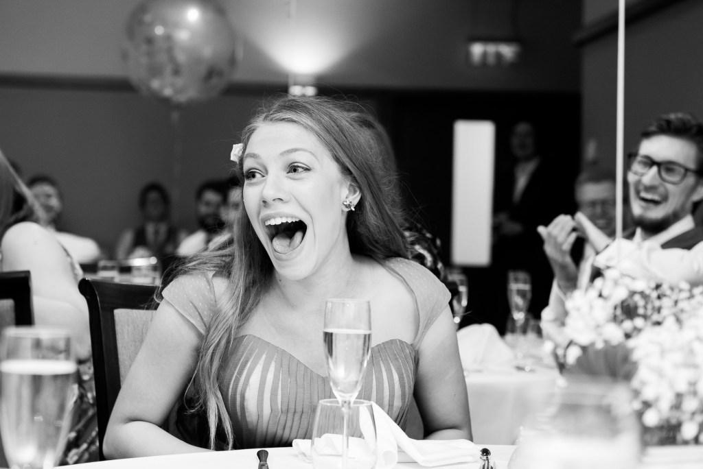 Fun wedding guest reactions during speeches Berkshire