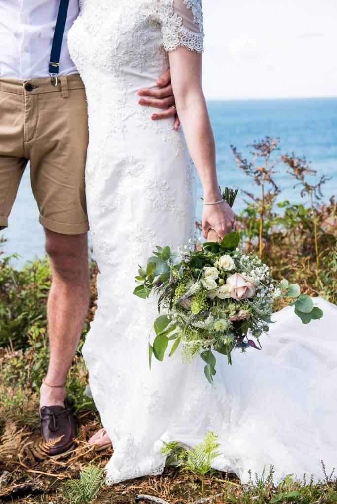 Natural boho beach themed wedding Cornwall