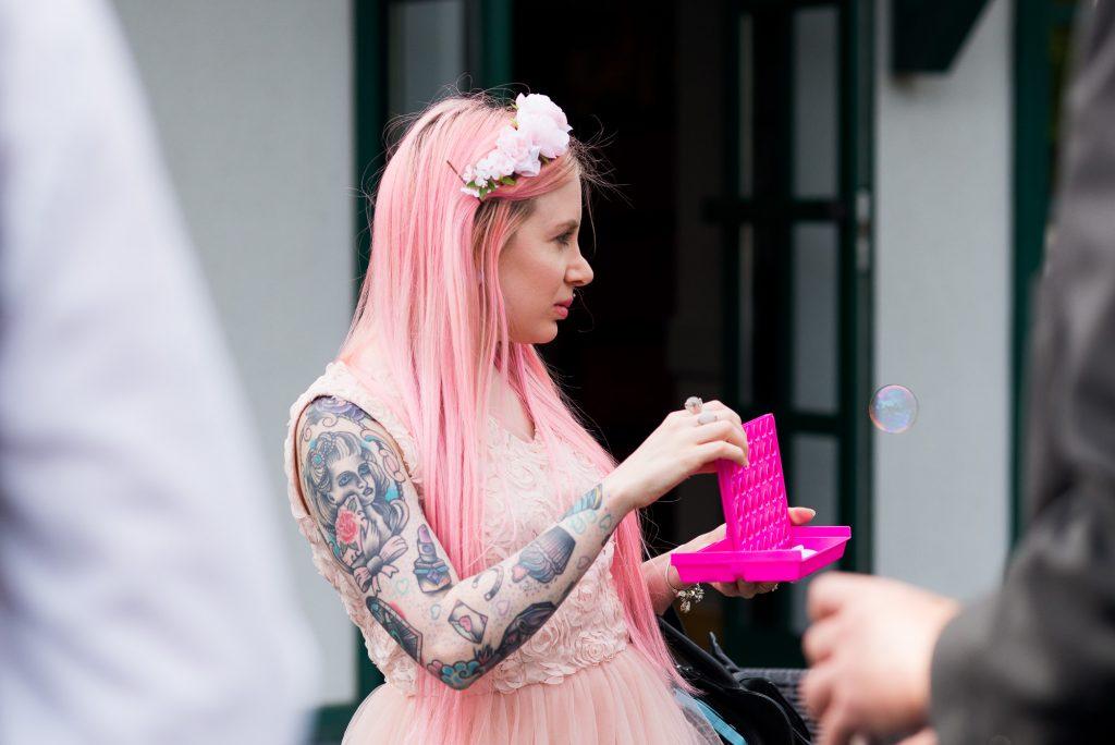 Pink haired tattooed wedding guest Wilde Theatre Berkshire