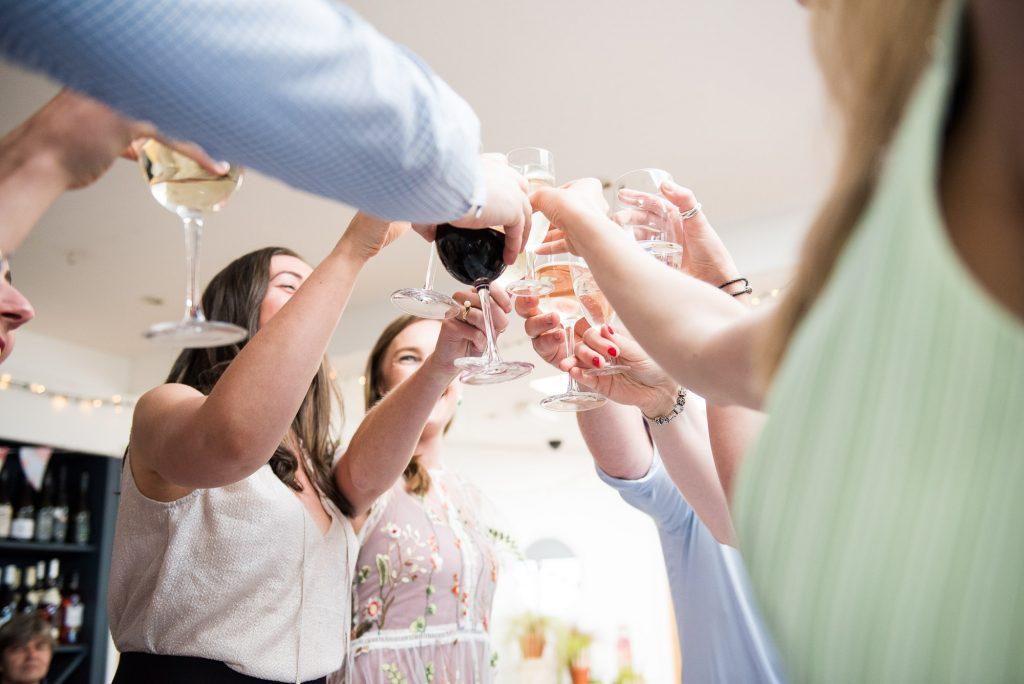 Drinks toast Cornwall beach wedding