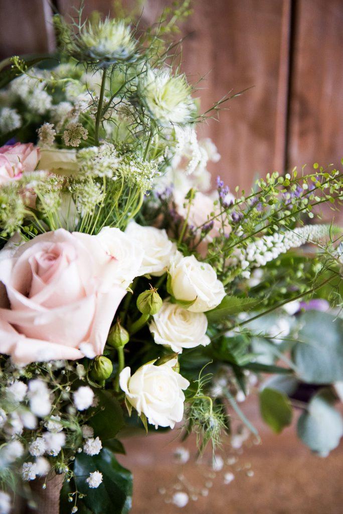 Pastel rustic wedding bouquet by Flowershed Trebilocks Flowers Cornwall