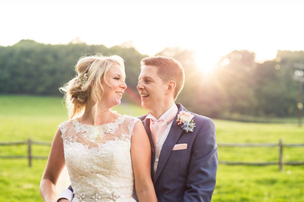 Afternoon sunlight wedding portrait