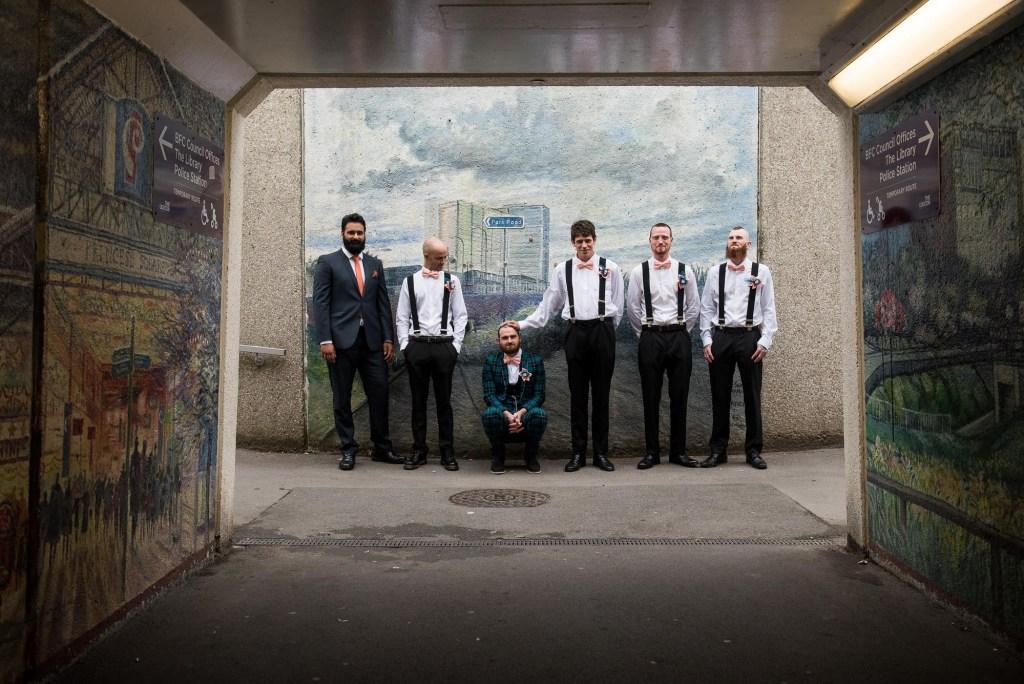 Creative pre wedding photography groom with groomsmen