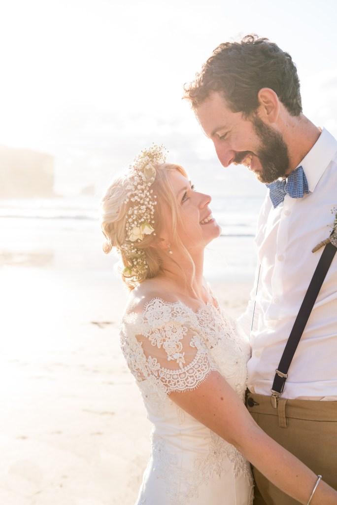 Beautiful golden hour wedding portrait Driftwood Spars Wedding
