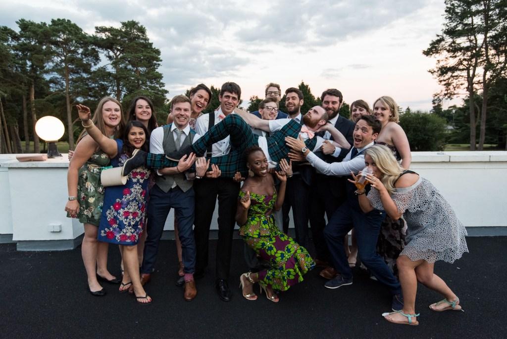 Fun group wedding photography Berkshire