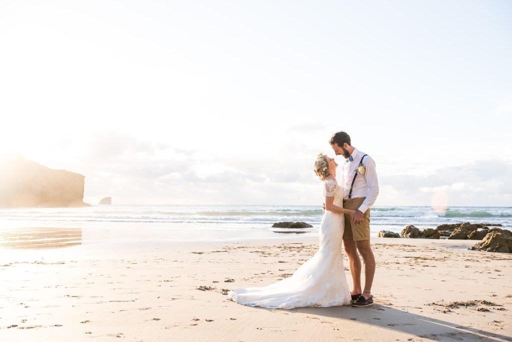 Stunning beach wedding portrait Cornwall