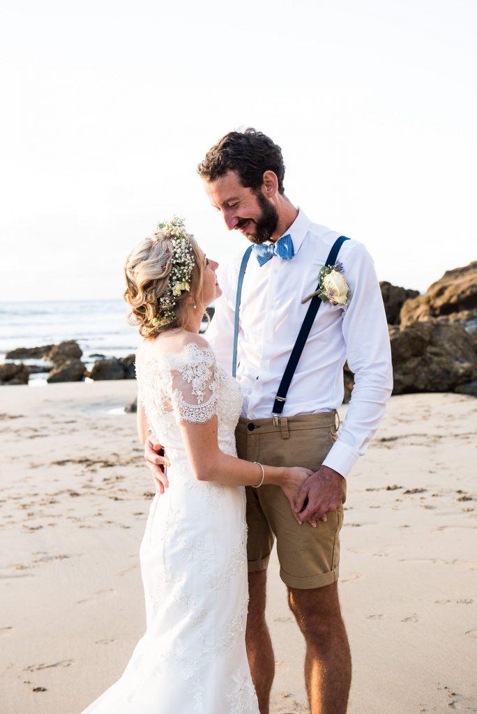 Cornwall beach wedding portrait