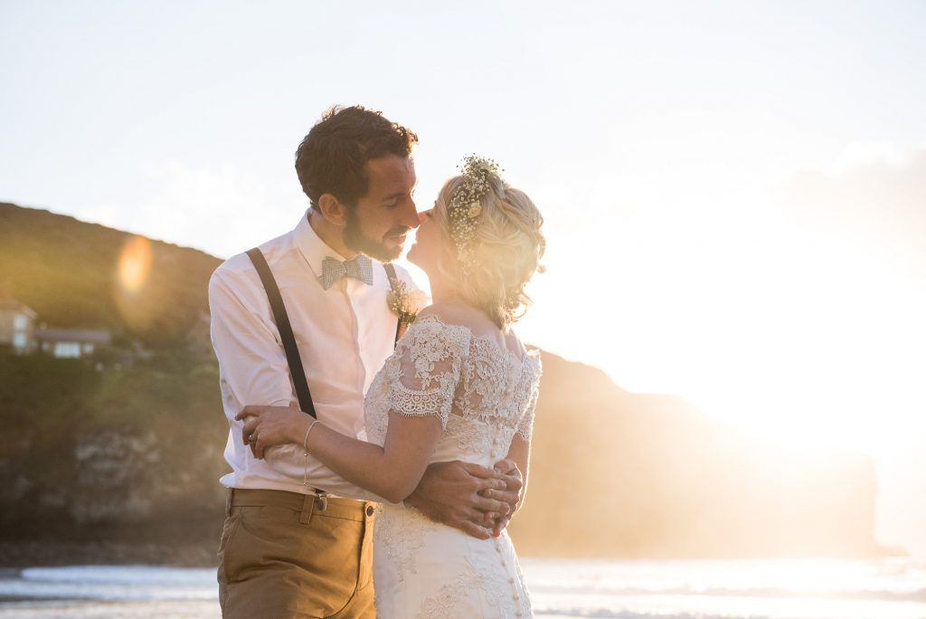 Golden hour wedding portrait Cornwall