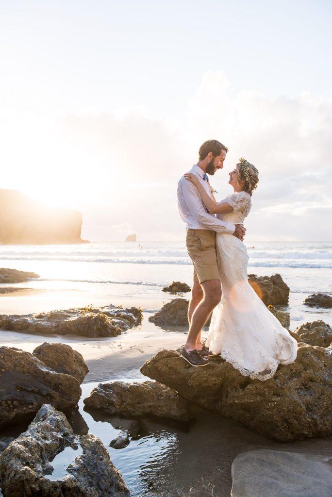 Beautiful beach wedding portrait Cornwall