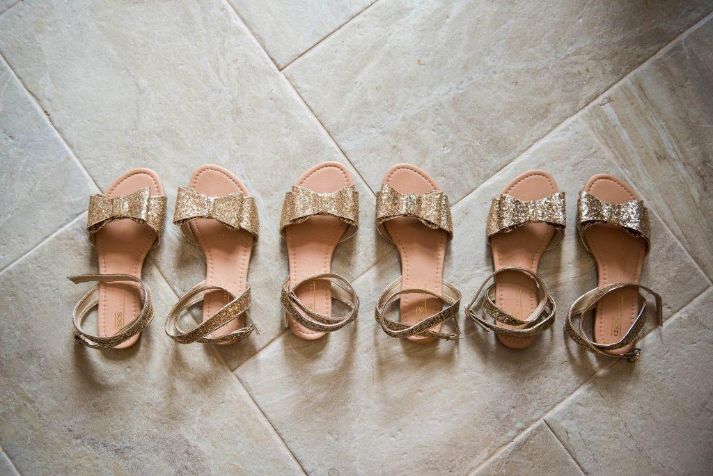 Gold sparkly bridesmaids sandals Cornwall wedding