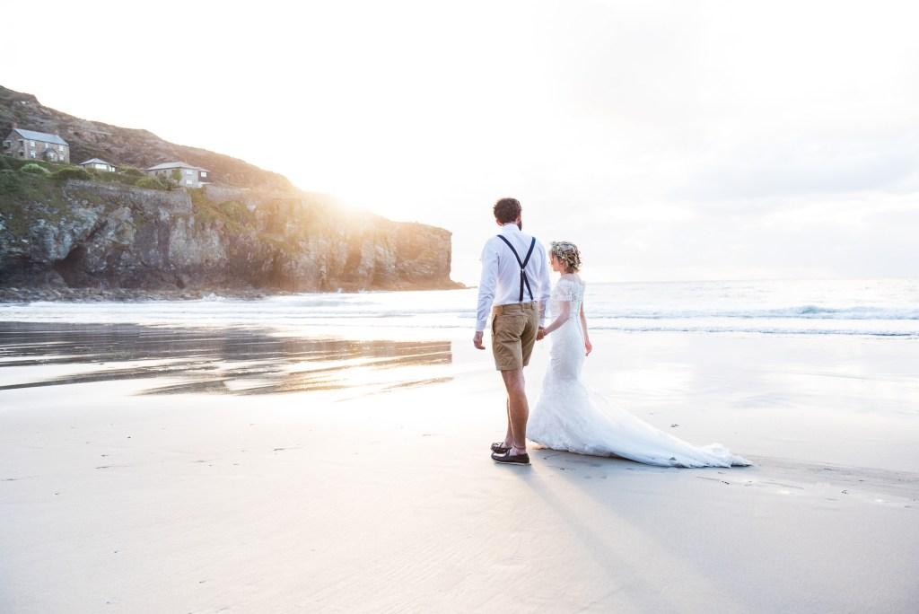 Beach wedding portrait Cornwall