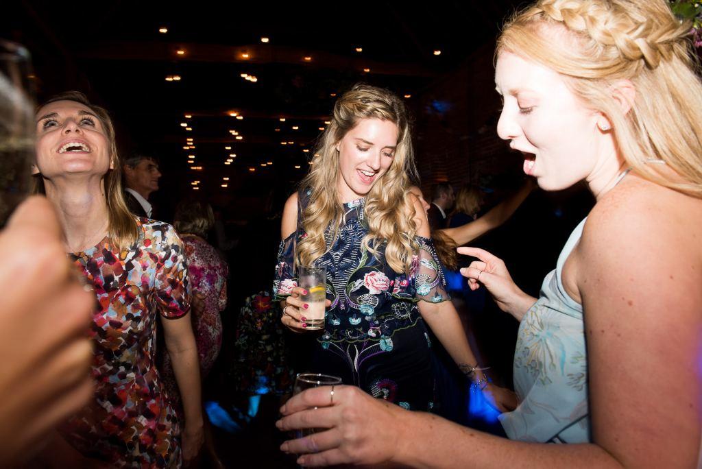 Ladies dancing Norfolk Barn wedding
