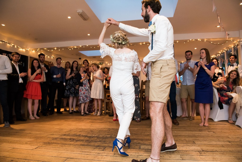 First dance at rustic Cornwall wedding