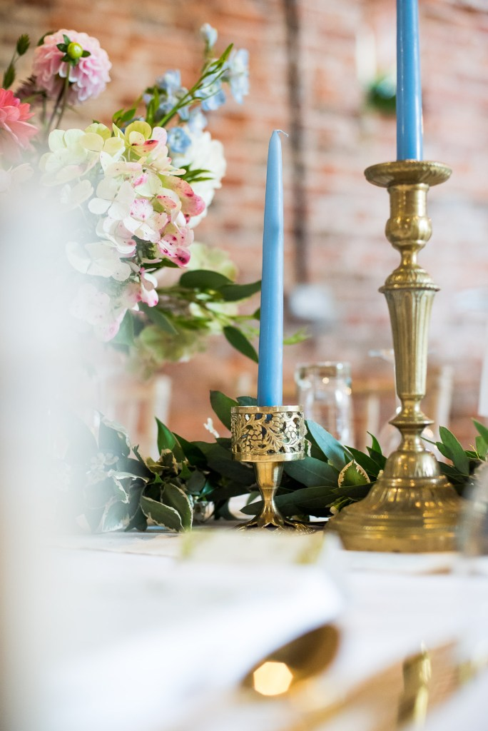 Elegant wedding table decor gold candlesticks Norfolk