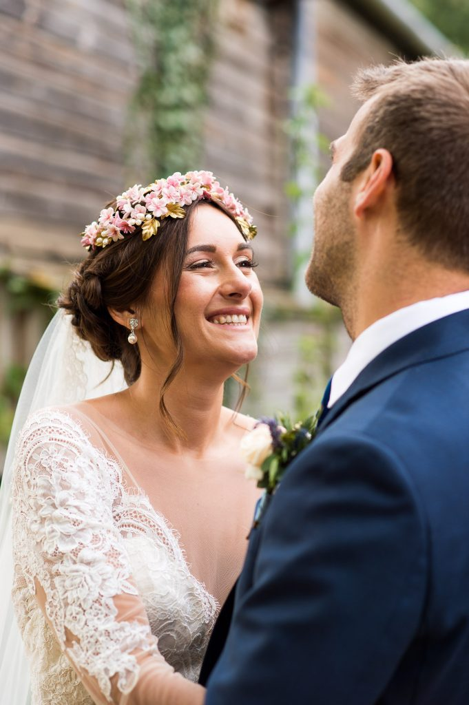 Natural wedding portrait bride wearing Jay West Bridal dress Norfolk Barn wedding