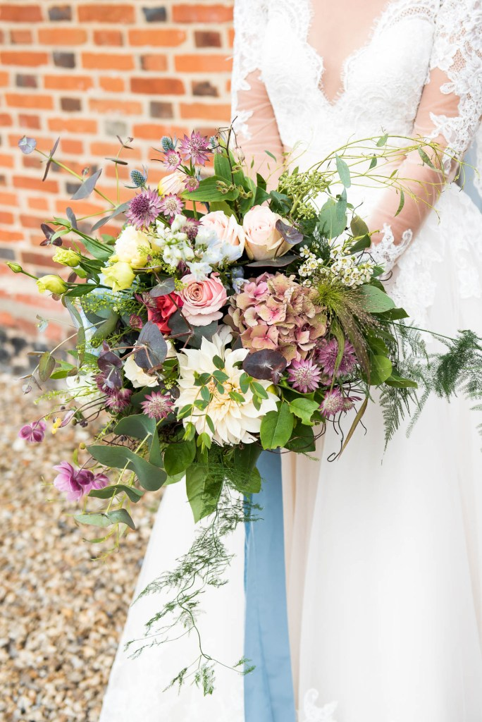 Beautiful bridal bouquet by Flowers at The Forge Norfolk wedding