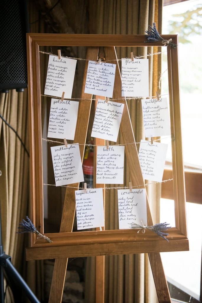 DIY handmade table plan with wooden frame and hand drawn place settings