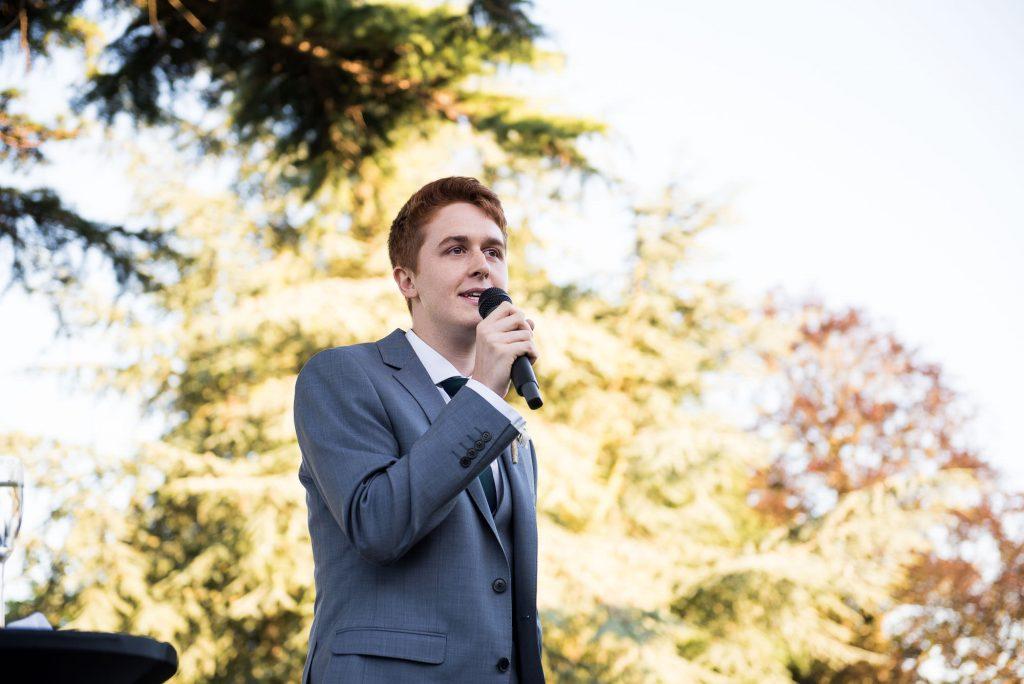 Best man delivers speech Surrey Barn wedding