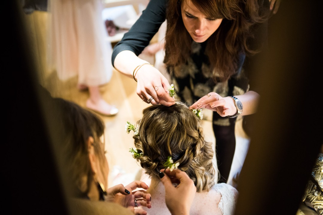 bridal hair finishing touches