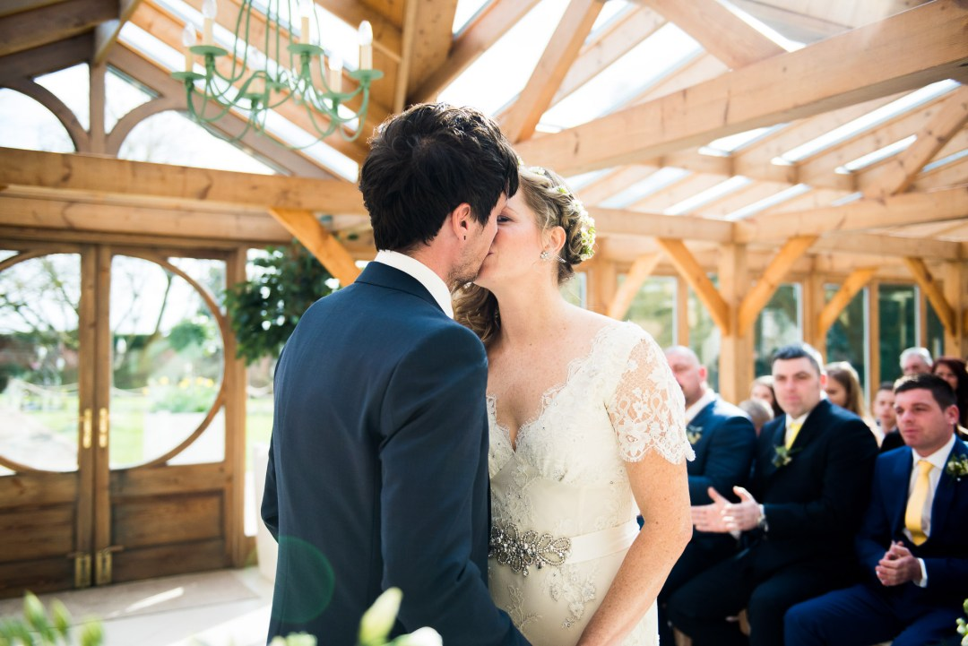 First kiss at Gaynes Park wedding
