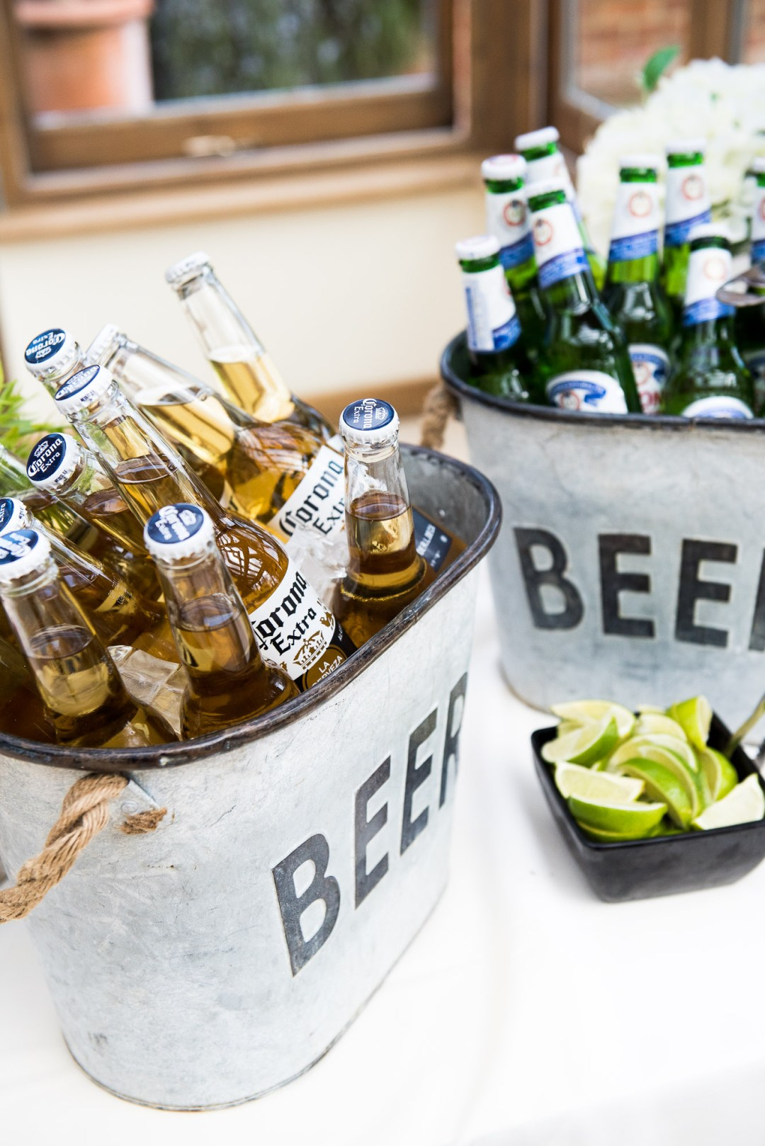 rustic beer wedding coolers