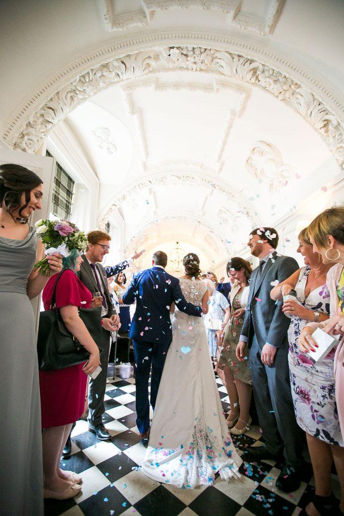 Confetti wedding portrait Surrey wedding