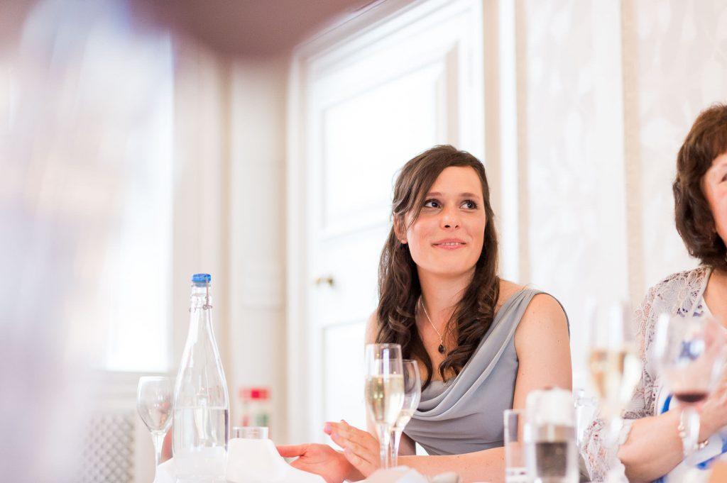 Smiling bridesmaid candid portrait Surrey wedding
