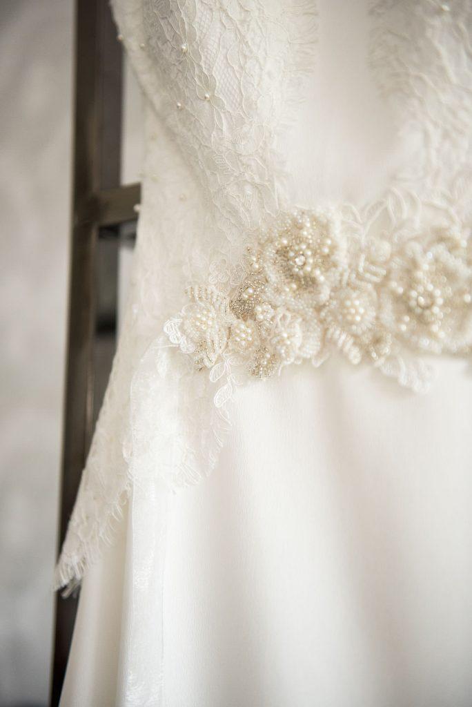 Beautiful lace detail on classic wedding dress