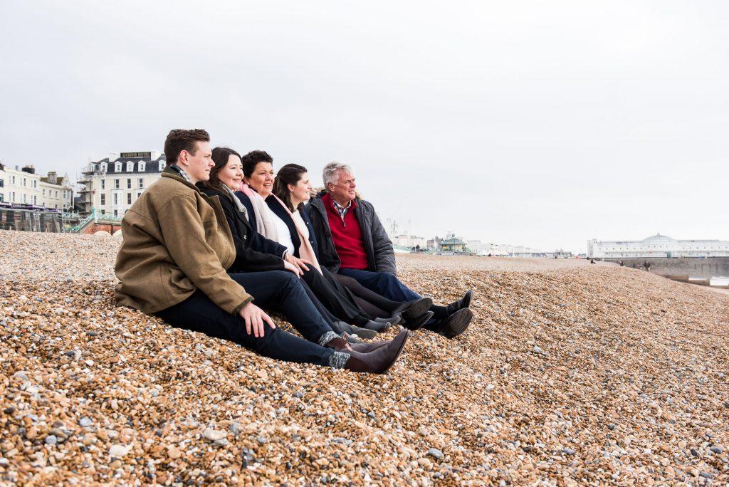 Family portrait on Brighton beach