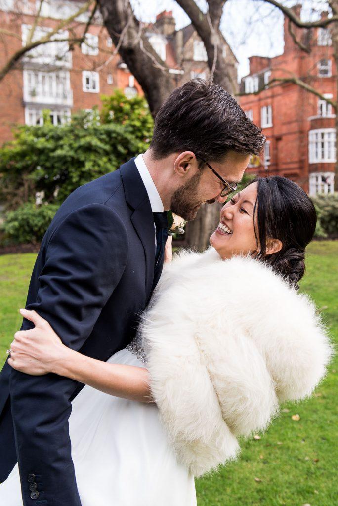 Natural and fun wedding portraits London