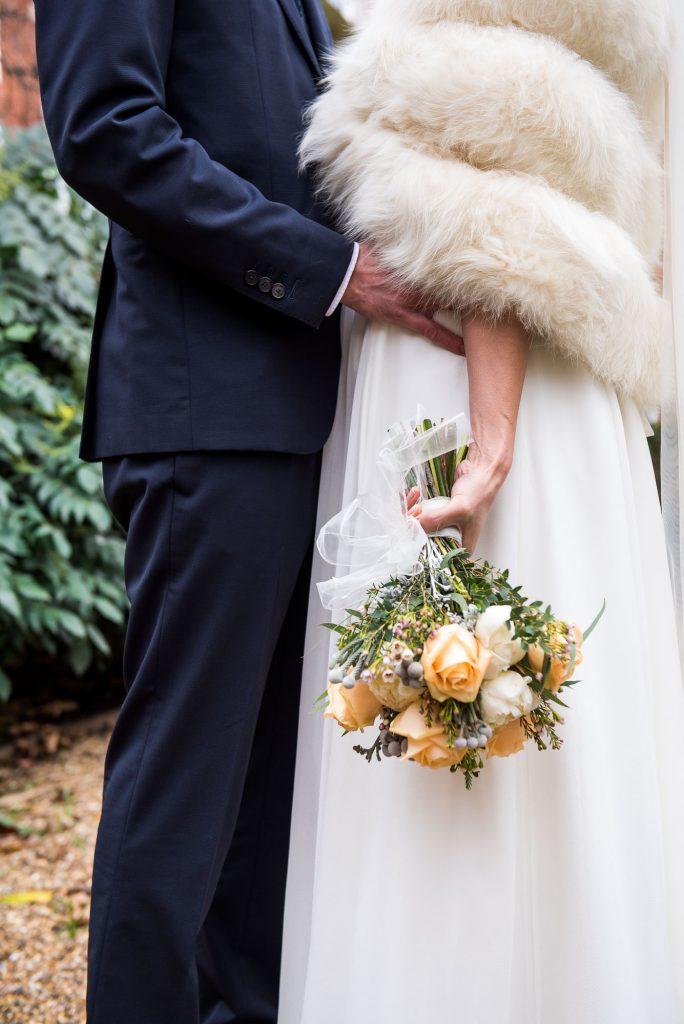 Creative wedding photograph of wedding bouquet